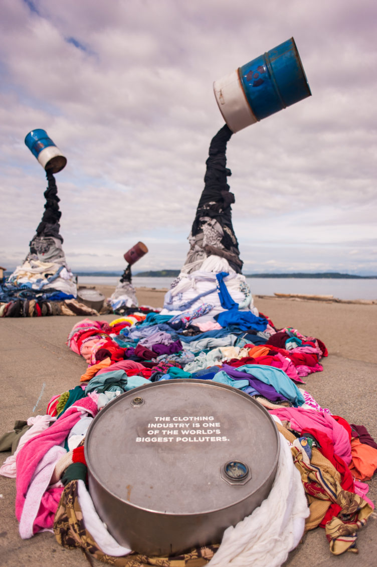 Value Village's Earth Day art installation on Alki Beach to visually represent the impact clothing has on the environment.